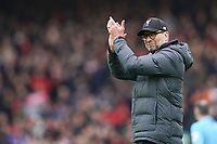 Football - 2019 / 2020 Premier League - Liverpool vs. AFC Bournemouth<br /> <br /> Liverpool manager Jürgen Klopp  applauds at the Kop at the end of the match, at Anfield.<br /> <br /> <br /> COLORSPORT/TERRY DONNELLY