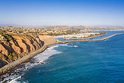 Aerial View Over the Bluffs of Dana Point Harbor Looking South