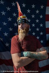 "Sean Carlson at Willie's Tropical Tattoo ""Chopper Time"" old school chopper show during Daytona Bike Week's 75th Anniversary event. Ormond Beach, FL, USA. Thursday March 10, 2016.  Photography ©2016 Michael Lichter."