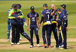 Durham celebrate the wicket of Gloucestershire's Gareth Roderick - Mandatory by-line: Robbie Stephenson/JMP - 07966386802 - 04/08/2015 - SPORT - CRICKET - Bristol,England - County Ground - Gloucestershire v Durham - Royal London One-Day Cup