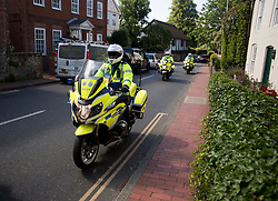© Licensed to London News Pictures. 10/07/2020. London, UK. A police presence in the town of Ditchling, East Sussex, ahead of the funeral of Dame Vera Lynn. The 'Forces' Sweetheart', who died last month aged 103, was famous for singing performances during WW2, which helped raise morale amongst troops abroad. Photo credit: Ben Cawthra/LNP