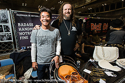 Mario Burkardt of MB Leathers in Switzerland at the annual Mooneyes Yokohama Hot Rod and Custom Show. Japan. Sunday, December 7, 2014. Photograph ©2014 Michael Lichter.
