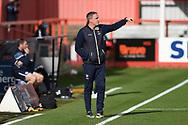 Cheltenham Town Manager Michael Duff gestures during the EFL Sky Bet League 2 match between Cheltenham Town and Crawley Town at Jonny Rocks Stadium, Cheltenham, England on 10 October 2020.