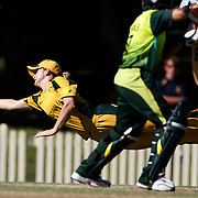 Leah Poulton just fails to take a catch during the match between Australia and Pakistan in the Super 6 stage of the ICC Women's World Cup Cricket tournament at Bankstown Oval, Sydney, Australia on March 16 2009, Australia won the match by 107 runs. Photo Tim Clayton