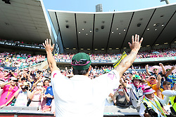 © Licensed to London News Pictures. 05/01/2014. Mitchell Johnson thanks the crowd during celebration lap  during day 3 of the 5th Ashes Test Match between Australia Vs England at the SCG on 5 January, 2013 in Melbourne, Australia. Photo credit : Asanka Brendon Ratnayake/LNP