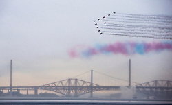 The Red Arrows, The Royal Air Force Aerobatic Team, fly past the Queensferry Crossing and the Forth Bridges, as Queen Elizabeth II and Prince Philip, Duke of Edinburgh officially open the Queensferry Crossing, on September 4, 2017 in South Queensferry, Scotland. The Queensferry Crossing is Scotland's newest road bridge which crosses the Firth of Forth near Edinburgh. The Queensferry Crossing is the world's longest three tower cable stayed bridge