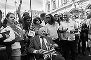 IN WHEELCHAIR -BRIG STEPHEN GOODALL, ( 96 YRS OLD ) GINA MILLER AMONGST OTHERS, Pro-European march tto demand a People's Vote on the final Brexit deal. London. 23 June 2018