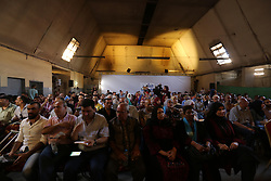 August 26, 2017 - Gaza, gaza strip, Palestine - Palestinians attend the screening of ''10 Years'' at Samer Cinema in Gaza City on August 26, 2017. The Samer Cinema in Gaza City, the oldest in the strip and was built in 1944 but closed for decades, hosted a special screening of a film about Palestinians in Israeli prisons. (Credit Image: © Majdi Fathi/NurPhoto via ZUMA Press)