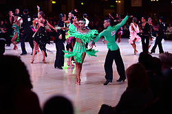 © Licensed to London News Pictures. Dancers compete in the Latin section at the British Ballroom dance championships at the Winter Gardens in Blackpool 28-05-2015. The first Blackpool Dance Festival was held  in 1920 now has 60 countries represented with total number of 2,950 couples competing. Photo credit: Nigel Roddis/LNP