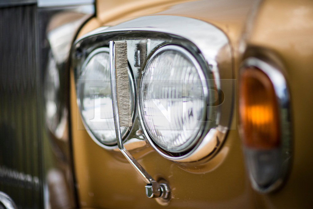 © Licensed to London News Pictures. 07/08/2016. Leeds UK. Picture shows the headlamp washers on a Rolls Royce Silver Shadow 2 at the 37th Rolls Royce North rally that has taken place this weekend in the ground's of Harewood House in Yorkshire. The event bring's together some of the UK's most prized motor cars & their proud owners. Photo credit: Andrew McCaren/LNP