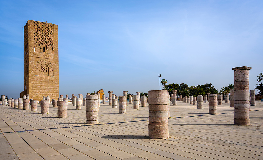 RABAT, MOROCCO - CIRCA APRIL 2017: Exterior of the Mausoleum of Mohammed V in Rabat.