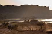 Eco-tourists by Padam Lake and Jogi Mahal hunting lodge in Ranthambhore National Park, Rajasthan, Northern India