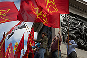 Members of the Communist Party of Great Britain gather on the plinth below Nelson's Column in Trafalgar Square during the traditional May Day celebrations in the capital, on 1st May 2018, in London, England.