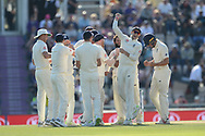 Jonny Bairstow of England punches the air as the decision to dismiss Ajinkya Rahane of India is upheld by the third umpire during the fourth day of the 4th SpecSavers International Test Match 2018 match between England and India at the Ageas Bowl, Southampton, United Kingdom on 2 September 2018.