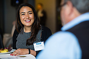 Andrea Weihert socializes during the Business of Cannabis event at the Silicon Valley Capital Club in San Jose, California, on April 4, 2019. (Stan Olszewski for Silicon Valley Business Journal)