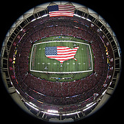 General view of the interior Georgia Dome from above during the National Anthem with an American Flag on the field before an NFC Divisional Playoff NFL football game against the Seattle Seahawks and the Atlanta Falcons on Saturday, Jan. 14, 2017 in Atlanta. The Falcons won, 36-20. (Ric Tapia via AP)