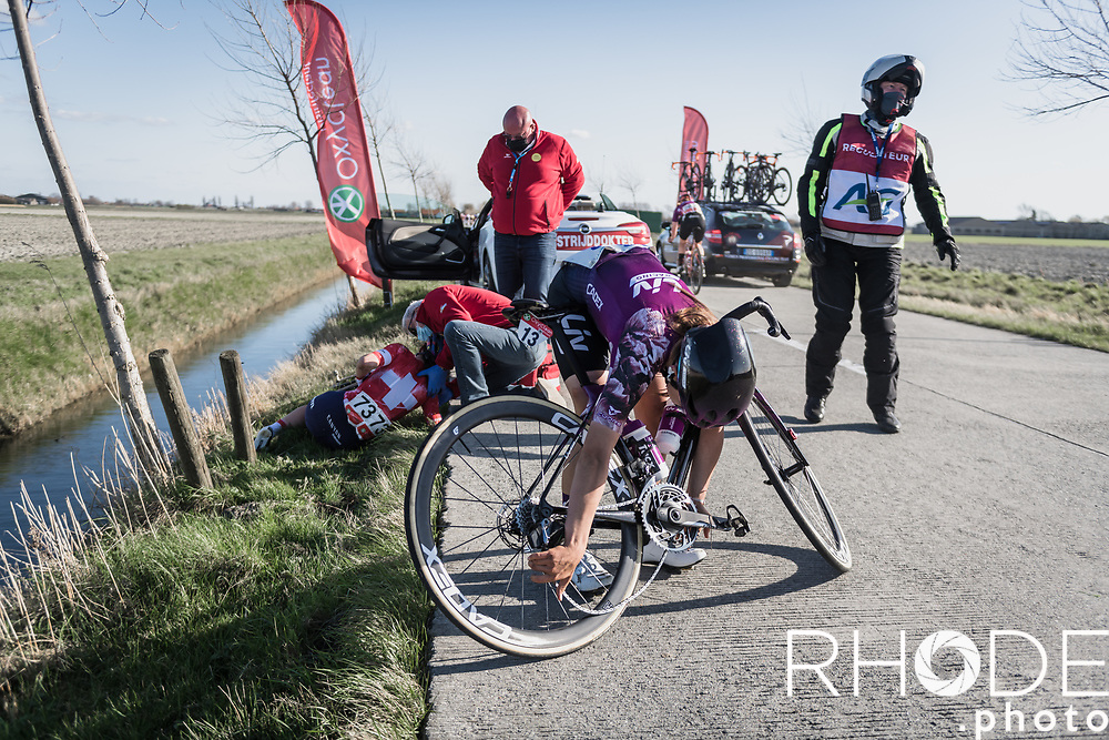 crash with Elise Chabbey (SUI/Canyon Sram Racing) and Marta Jaskulska (POL/Liv Racing) who had to take her bike out of the scrapyard<br /> <br /> Oxyclean Classic Brugge-De Panne 2021 (WE/1.WWT) - Belgium<br /> 1 day race from Brugge to De Panne (159km)<br /> <br /> ©RhodePhoto