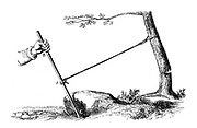 Mechanical advantage: The power of the lever, 1877. Lever of the second kind where effort is between fulcrum and load. Resistance, A,  between power, B, and fulcrum, C. Use of a lever allows more power to be exerted for the same effort than is possible without it. From 'Natural Philosophy', A Ganot, (London, 1877).