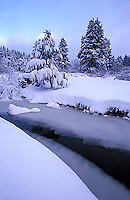 Trout Creek frozen after storm in South Lake Tahoe, CA
