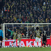 Fenerbahce's Moussa Sow (2ndL) goal during their Turkish superleague soccer derby match Fenerbahce between Besiktas at Sukru Saracaoglu stadium in Istanbul Turkey on Sunday 05 February 2012. Photo by TURKPIX