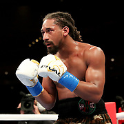 HOLLYWOOD, FL - APRIL 17:  Demetrius Andrade readies his guard against Liam Williams during the WBO Middleweight Championship fight at Seminole Hard Rock Hotel & Casino on April 17, 2021 in Hollywood, Florida. (Photo by Alex Menendez/Getty Images) *** Local Caption *** Demetrius Andrade; Liam Williams