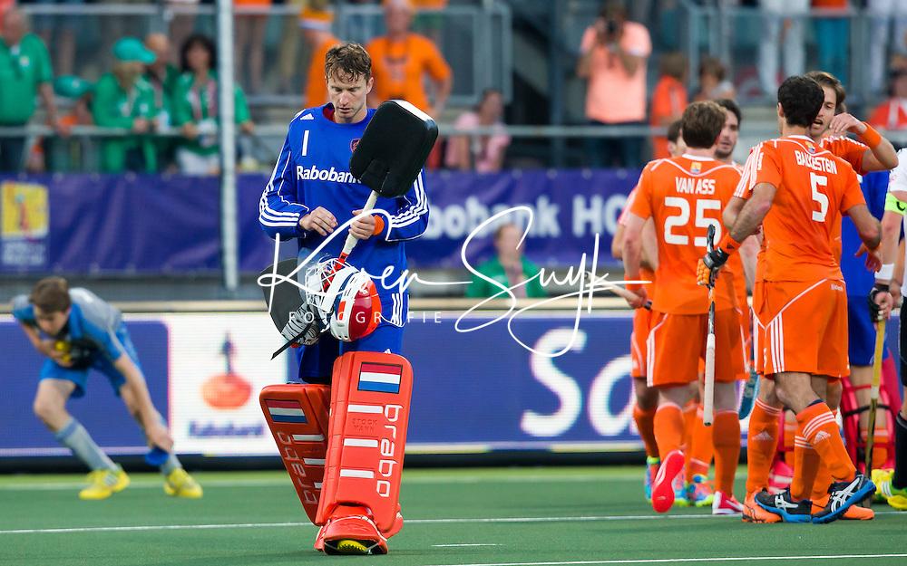 DEN HAAG -  Keeper Jaap Stockmann na de wedstrijd tussen de mannen van Duitsland en Nederland in het WK hockey 2014.  ANP KOEN SUYK