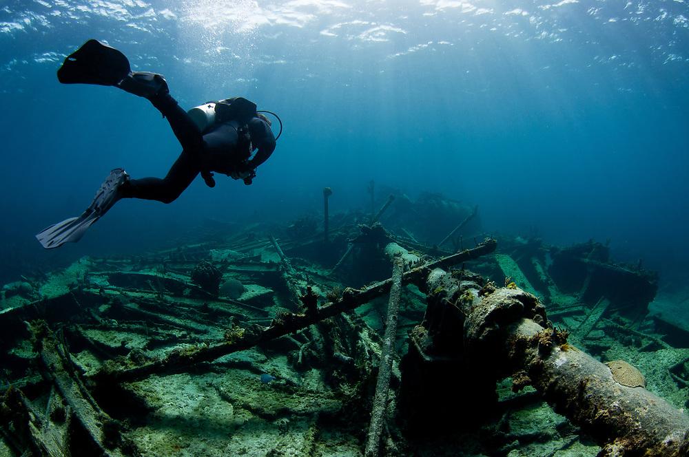 A SCUBA Diver explores the wreck of the Carnarvon in The Bahamas.