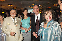 Left to right, BARRY HUMPHRIES, SAMANTHA CAMERON, DAVID CAMERON MP and JOAN COLLINS at a party to celebrate the 180th Anniversary of The Spectator magazine, held at the Hyatt Regency London - The Churchill, 30 Portman Square, London on 7th May 2008.<br /><br />NON EXCLUSIVE - WORLD RIGHTS