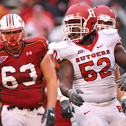 Sep 26, 2009; College Park, MD, USA; Rutgers defensive end Eric Legrand (52) celebrates a sack during the second half of Rutgers' 34-13 victory over Maryland in NCAA college football at Byrd Stadium.