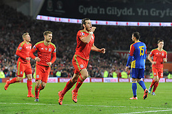 Gareth Bale of Wales celebrates his goal to make it 2-0 - Mandatory byline: Dougie Allward/JMP - 07966 386802 - 13/10/2015 - FOOTBALL - Cardiff City Stadium - Cardiff, Wales - Wales v Andorra - European Qualifier 2016 - Group B