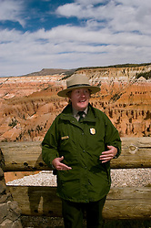 Park ranger at Cedar Breaks National Monument, Utah, UT, view, vista from Point Supreme, nature, landscape, erosion, arid, model released, USNP Park Ranger, United States National Park Ranger, Christine Wood, Image ut311-17463, Photo copyright: Lee Foster, www.fostertravel.com, lee@fostertravel.com, 510-549-2202