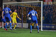 Shot from AFC Wimbledon midfielder Dylan Connolly (16) hits the post during the EFL Sky Bet League 1 match between AFC Wimbledon and Peterborough United at the Cherry Red Records Stadium, Kingston, England on 12 March 2019.