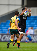 New Zealand's Isaia Walker-Leawe charges down a kick from Australia fly-half Nick Jooste and goes on to score under the posts during the World Rugby U20 Championship 5rd Place play-off  match Australia U20 -V- New Zealand U20 at The AJ Bell Stadium, Salford, Greater Manchester, England on Saturday, June  25  2016.(Steve Flynn/Image of Sport)