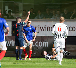 Cowdenbeath's Craig Johnston sent of by Ref Greg Aitken. <br /> Dunfermline 7 v 1 Cowdenbeath, SPFL Ladbrokes League Division One game played 15/8/2015 at East End Park.