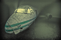 """An HS748 passenger aircraft deliberately sunk for visiting divers at Capernwray Diving centre, near Lancaster UK. <br /> <br /> I placed numerous off camera """"slave"""" strobes in the cockpit, triggering off my on-camera strobe to get the effect"""