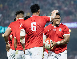 Ma'afu Fia of Tonga celebrates but the try was disallowed<br /> <br /> Photographer Simon King/Replay Images<br /> <br /> Under Armour Series - Wales v Tonga - Saturday 17th November 2018 - Principality Stadium - Cardiff<br /> <br /> World Copyright © Replay Images . All rights reserved. info@replayimages.co.uk - http://replayimages.co.uk