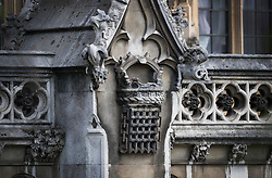 © Licensed to London News Pictures. 08/09/2016. London, UK. Water and weather damage is seen on a carving of a Crowned Portcullis at Parliament.  A Parliamentary committee is recommending that MPs and Peers move out to enable much needed repairs to the crumbling infrastructure of the Medieval and Victorian Palace of Westminster. Photo credit: Peter Macdiarmid/LNP