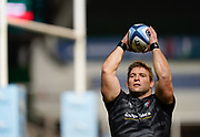 Leicester Tigers hooker Tom Youngs warms up before his 200th appearance for his club during a Gallagher Premiership Round 7 Rugby Union match, Friday, Jan. 29, 2021, in Leicester, United Kingdom. (Steve Flynn/Image of Sport)
