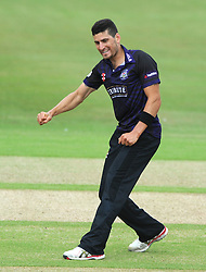 Benny Howell of Gloucestershire celebrates as Adam Wheater of Hampshire is out for LBW from his bowl  - Photo mandatory by-line: Dougie Allward/JMP - Mobile: 07966 386802 - 14/07/2015 - SPORT - Cricket - Cheltenham - Cheltenham College - Natwest T20 Blast