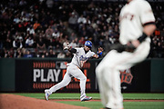 Los Angeles Dodgers right fielder Yasiel Puig (66) rushes back to second base after a San Francisco Giants pitch at AT&T Park in San Francisco, California, on September 13, 2017. (Stan Olszewski/Special to S.F. Examiner)