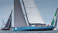 One of the biggest monohull's in the fleet, Mike Slade's Leopard, during the 90th anniversary Rolex Fastnet Race on the Solent. A record fleet of 370 yachts will compete to win the Fastnet Challenge Cup.<br /> The 600 nautical mile race starts in Cowes, Isle of Wight, heading to the Fastnet Rock off the south west coast of Ireland and finishes in Plymouth.<br /> It is the world's biggest offshore race with 75% amateur sailors and professional yachtsmen competing against each other. <br /> Picture date Sunday 16th August, 2015.<br /> Picture by Christopher Ison. Contact +447544 044177 chris@christopherison.com