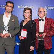 NLD/Amsterdam/20190322  - Boekenbal 2019, Murat Isik, schrijver van het Boekenweekessay, Esther Naomi Perquin, schrijfster van het Boekenweekgedicht en schrijver van het Boekenweekgeschenk Jan Siebelink