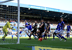 James Chester of Aston Villa narrowly misses a chance to open the scoring - Mandatory by-line: Paul Roberts/JMP - 29/10/2017 - FOOTBALL - St Andrew's Stadium - Birmingham, England - Birmingham City v Aston Villa - Skybet Championship