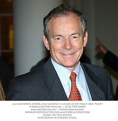 Journalist SIMON JENKINS, at an exhibition in London on 24th March 2004.PSW 87