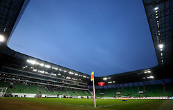 A general view of the pitch before the international friendly match at the Groupama Arena, Budapest. PRESS ASSOCIATION Photo. Picture date: Tuesday March 27, 2018. See PA story SOCCER Hungary. Photo credit should read: Tim Goode/PA Wire. RESTRICTIONS: Use subject to restrictions. Editorial use only. Commercial use only with prior written consent of the Scottish FA.