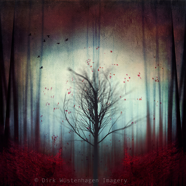 single shaking tree in an abstract forest scenery<br /> <br /> Redbubble--> https://www.redbubble.com/shop/ap/38121849?asc=u