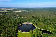 Nederland, Gelderland, Gemeente Ede, 09-06-2016; Nationaal Park de Hoge Veluwe, Jachthuis Sint Hubertus. Architect H.P. Berlage in opdracht van Helene Muller en Anton Kroller (Helene Mueller en Anton Kroeller). <br /> National Park De Hoge Veluwe, St. Hubertus Hunting Lodge. Architect H.P. Berlage on behalf of Helene Muller en Anton Kroller.<br /> Responsible for the recent redesign of the surroundings H + N + S Landscape Architects and landscape architect Michael van Gessel.<br /> luchtfoto (toeslag op standard tarieven);<br /> aerial photo (additional fee required);<br /> copyright foto/photo Siebe Swar