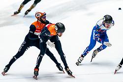 Sjinkie Knegt, Daan Breeuwsma in action on the 5000 meter relay during ISU World Cup Finals Shorttrack 2020 on February 15, 2020 in Optisport Sportboulevard Dordrecht.
