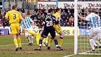 Photo: Daniel Hambury.<br />Brighton & Hove Albion v Leicester City. Coca Cola Championship. 11/02/2006.<br />Leicester's Patrick McCarthy (ground) scores to make it 0-1.