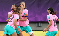 Barcelona players score after Chelsea's Melanie Leupolz (not pictured) scores an own goal during the UEFA Women's Champions League final, at Gamla Ullevi, Gothenburg. Picture date: Sunday May 16, 2021.